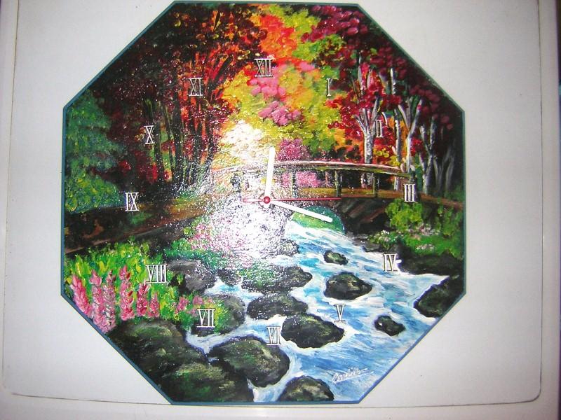 horloge rivière et nature Sylvie G. création
