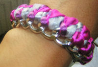 bracelet chaîne et rubans ton rose